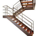 деревянная лестница на металлическом каркасе фото
