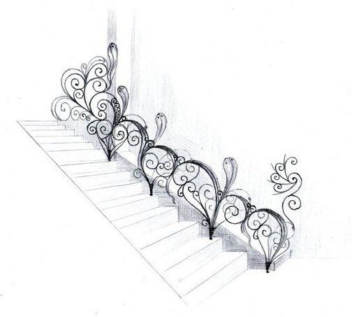 Эскиз кованой лестницы