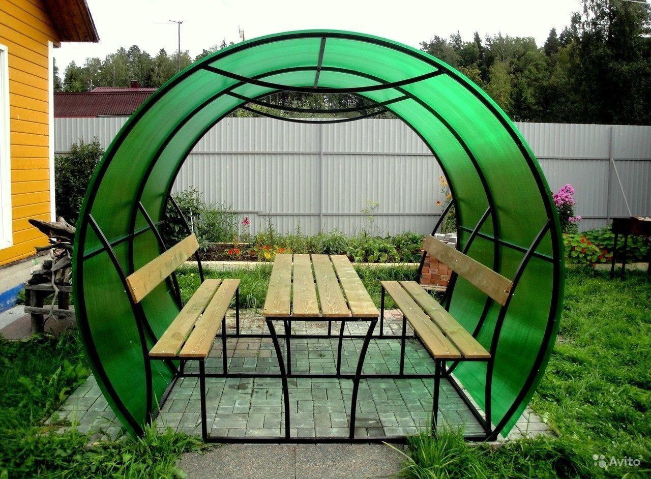 Беседка из поликарбоната зеленого цвета