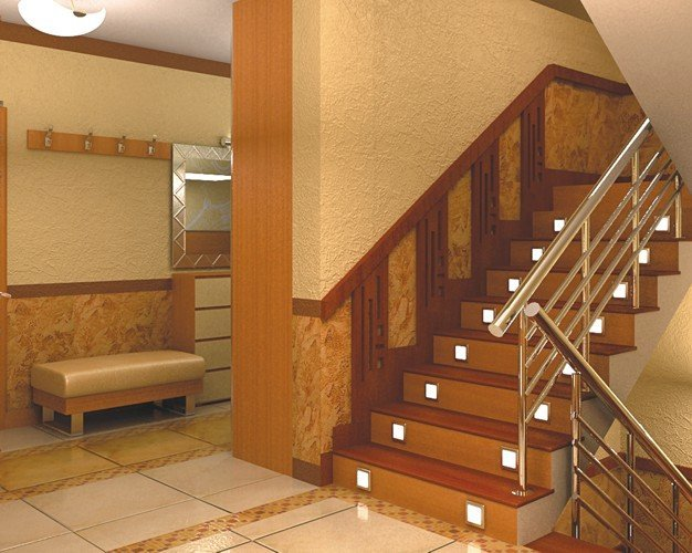 Фонари встроенные в ступени лестницы фото