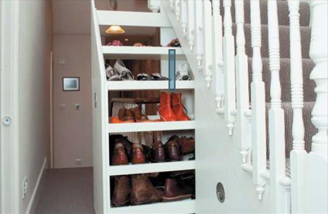 Фото гардеробной комнаты под лестничным маршем
