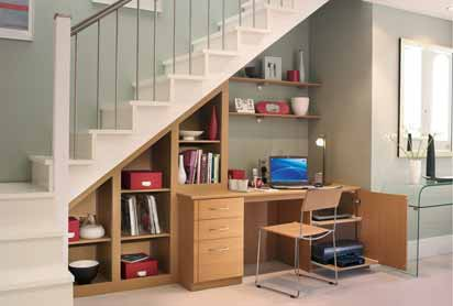 обустройство пространства под лестницей под кабинет