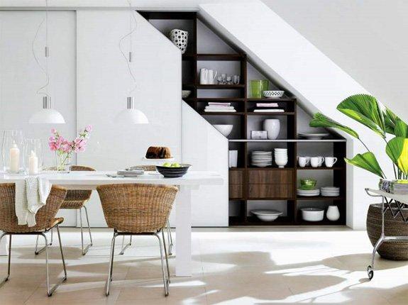 Кухонный шкаф под лестницей фото