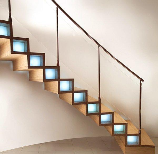 Светодиодные светильники для освещения ступенек лестницы фото