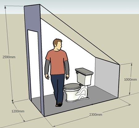 Как сделать туалет под лестницей
