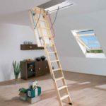 Деревянная складная лестница фото