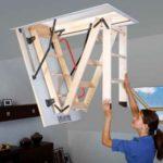 Раскладная чердачная лестница фото