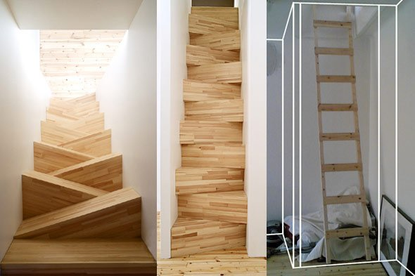 Танцующая лестница из дерева фото