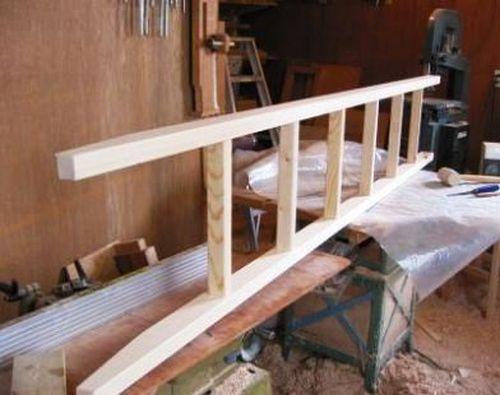 Приставная лестница, этап изготовления