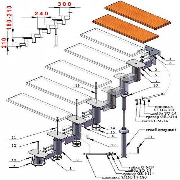 Детальное изображение модульной лестницы